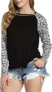 Women's Casual Long Sleeve Leopard Shirts Crewneck Twist Knot Front Loose Fit T-Shirt Tops