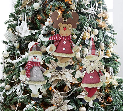 Plush Christmas Ornaments, 3 Pack Xmas Hanging Decorations Christmas Tree Festive Pendants Ornaments Set, Santa, Snowman, Reindeer for Holiday Party Christmas Family Meeting Xmas Tree Decor