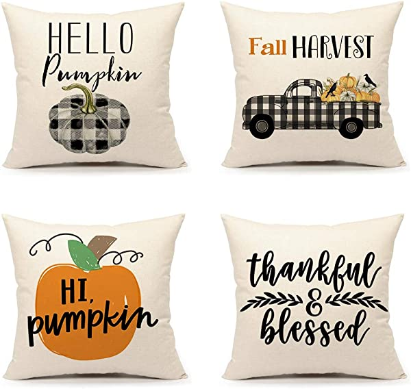 4TH Emotion Fall Harvest Throw Pillow Cover Farmhouse Thanksgiving Buffalo Pumpkin Truck Cushion Case For Sofa Couch 18x18 Inches Cotton Linen Set Of 4