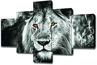 SwmArt 5 Piece Black and White Gray Lion Head Portrait Wall Art Painting Pictures Print On Canvas Animal The Picture for Home Modern Decoration(60