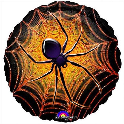 Ballon d'Halloween en aluminium 45cm Prismatique Large Araignée