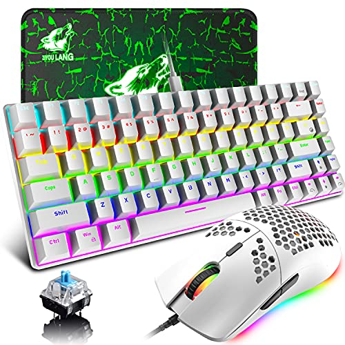 Gaming Keyboard and Mouse with Mechanical Blue Switch Rainbow Backlit Wired Type-C 84 Keys Anti-ghosting,RGB 12000 DPI Lightweight Honeycomb Shell Gaming Mouse,Large Mouse Pad for PC Gamers(White)