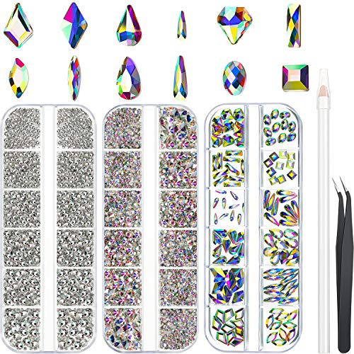 6120 Pieces AB Crystal Rhinestones Set Multi Shapes Glass Crystal AB Rhinestones, Including 120 Pieces Nail Crystals and 6000 Pieces AB Flatback Rhinestones Clear Gems Diamond Stone for Nail Art Craft