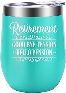 Retirement Gifts for Women, Funny Retired Mug, Christmas Gifts for Retiree, Retiring Gift Ideas for Mom, Grandma, Coworker, Teacher, Friend, Her - Good Bye Tension, Hello Pension - LEADO Wine Tumbler
