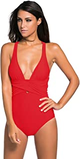 Shawhuwa Womens Sexy Retro V Neck Strappy One Piece Swimsuit Bathing Suit