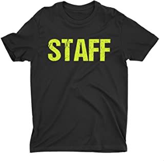 NYC FACTORY Black Staff T-Shirt Front & Back Print Mens Event Shirt Neon Yellow Print Tee