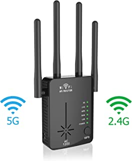 WiFi Range Extender, 2020 Latest 5GHz & 2.4GHz Dual Band 1200Mbps WiFi Repeater Wireless Signal Booster, 360 Degree Full Coverage WiFi Extender Signal Amplifier with Router/AP/Repeater Mode