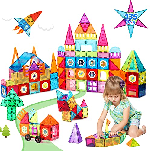 Magnet Tiles 135pcs Magnetic Building Blocks Tiles STEM Construction Set Toys for Toddlers 3D Clear Color Stacking Toys for 3 4 5 6 7 8+ Years Old Kids Boys & Girls Gifts