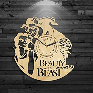 Cartoon Gift For Kids, Beauty And Beast Wood Clock, Gift For Girl, Birthday Gift, Wall Clock Modern, Beauty And The Beast Clock, Wall Clock Modern, Beauty And Beast Wooden Clock, Disney Wood Clock
