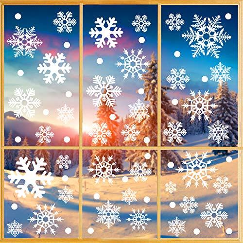 O-Kinee Pegatinas de Copo de Nieve Blancas, 228pcs Copos de Nieve, Reutilizables para Ventana de Navidad, Pegatinas estáticas de PVC para decoración de Navidad hogar/Tienda