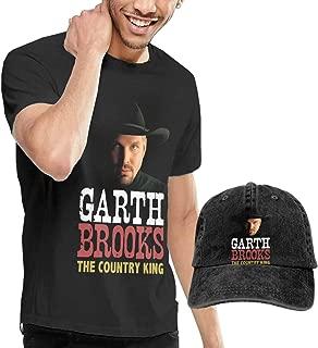 Men's Garth Brooks Black T Shirt and Cowboy Cap Bundle Gift Set