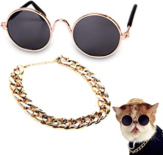 Secaden Funny Pet Classic Retro Circular Sunglasses and Gold Color Chain Necklace for Cats Small Dogs