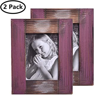 MUAMAX Rustic Farmhouse 5 x 7 Picture Frame Weathered Shabby Chic Distressed Weathered Reclaimed Wood Photo Frame Table/Wall Mount Display, Purple Red