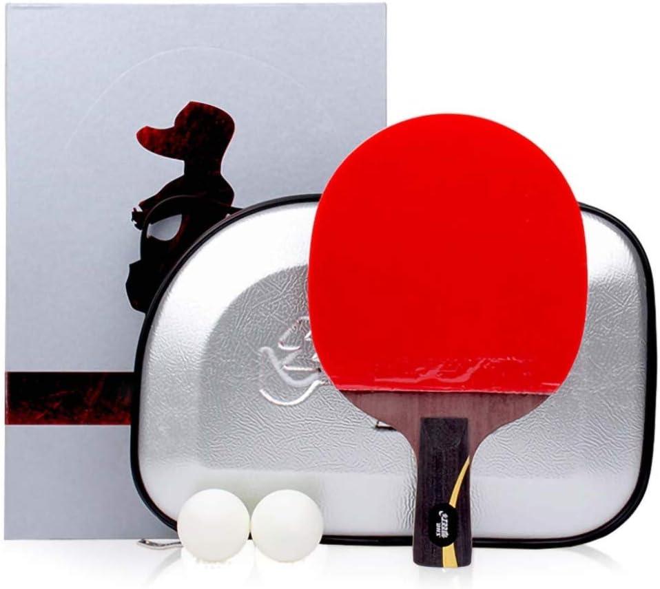 Lerten Palas De Ping Pong Tipo Ofensivo Rápido,Raqueta De Ping Pong En Caja De Regalo,Madera Pura Profesional De Cinco Capas,Raqueta Simple/Como se muestra/Mango corto