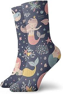 Be-ryl, Sirena de Patrones sin Fisuras Vector impresión con Chicas Lindas Colores Pastel Calcetines de Running Deportivos de Fondo para niños