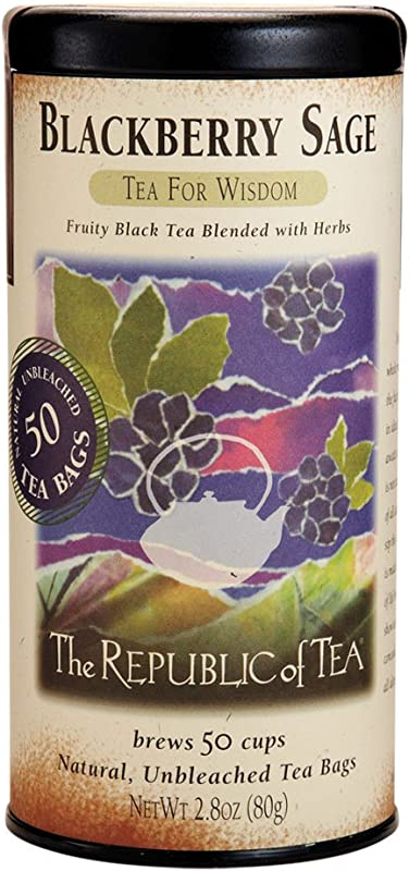 The Republic Of Tea Blackberry Sage Black Tea Gourmet Black Tea Blackberry And Sage Blend 50 Count