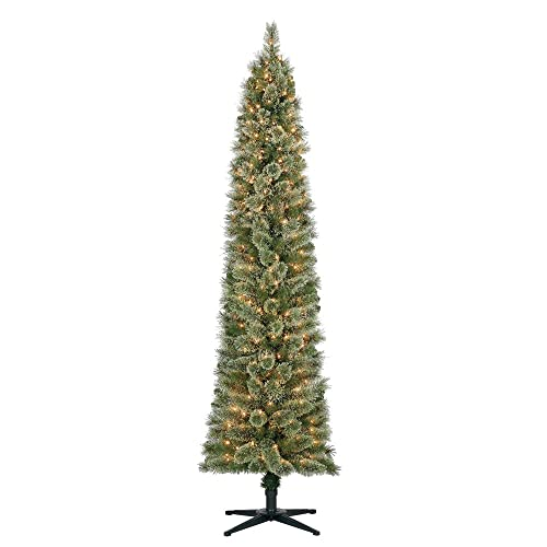Home Heritage Stanley 7' Pencil Artificial Pine Slim Tree with Lights (Open  ... - Christmas Tree Pencil Pre Lit: Amazon.com