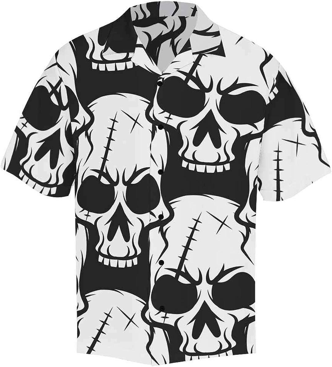 InterestPrint Men's Casual Button Down Short Sleeve Fruit Pineapple Hawaiian Shirt (S-5XL)