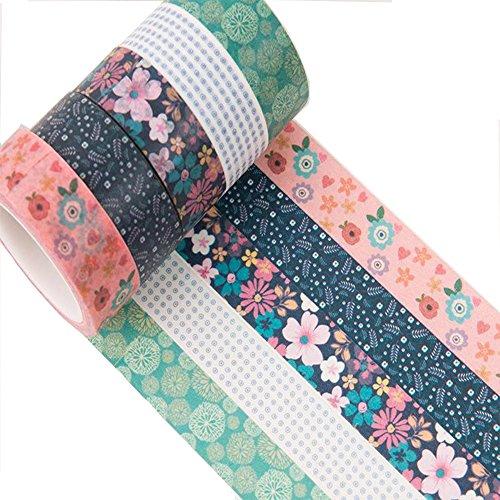 Meiwash Washi Tape Set Decorativo Adesivo Nastro Washi Multi-Pattern Adesivo Scrapbooking e pallottole Nastro Decorativo per Regali Fai da Te Arti (Puntini e Fiori Viola-Blu, Confezione da 5)