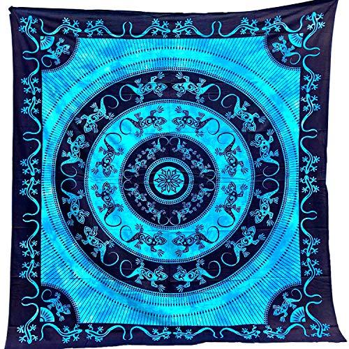Tapiz Mandala 100% Algodón de la India con 210X240 cm Tapices Indios de Decoración Múltiples Aplicaciones: Cubrecama, Cubre sofá, Mantel, Pareo, Foulard, Picnic, Toalla Playa