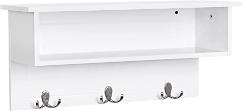 VASAGLE Wooden Entryway Hanging Shelf with 3 Double Hooks and Storage, White ULES01WT