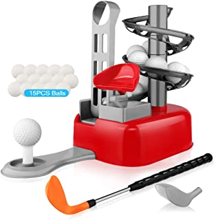 Blasland Kids Golf Toys Set - Outdoor Lawn Sport Toy, Training Golf Balls & Clubs Equipment, Indoor Exercise, Outside Yard Active Gifts Toys for 3 4 5 6 7 8 Year Olds Toddlers Boys Girls