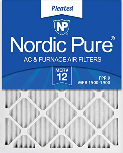 Nordic Pure 20x25x1 MERV 12 Pleated AC Furnace Air Filters 3 Pack