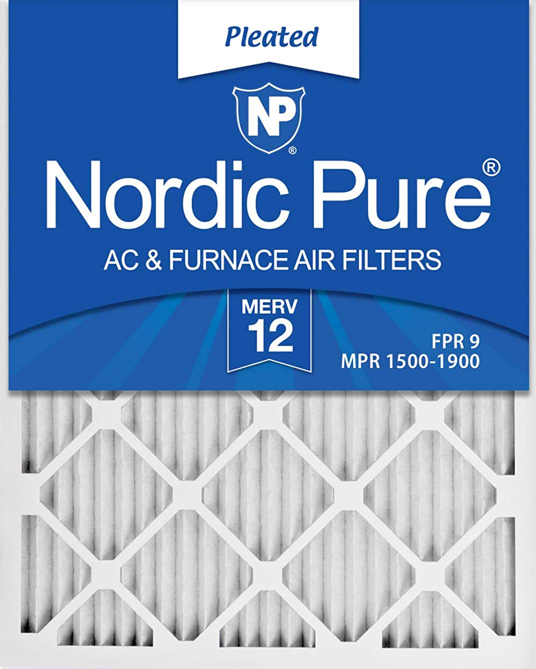Nordic Pure 16x22x1 Exact MERV 12 Pleated AC Furnace Air Filters 1 Pack
