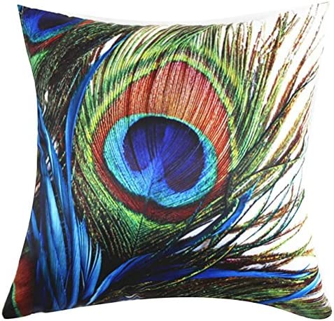ChezMax Square Peacock Printed Cushion Cover Polyester Sateen Peach Throw Pillow Case Sham Slipover product image
