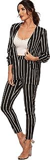 SheIn Women's Two Piece Plaid Open Front Long Sleeve Blazer and Elastic Waist Pant Set Suit