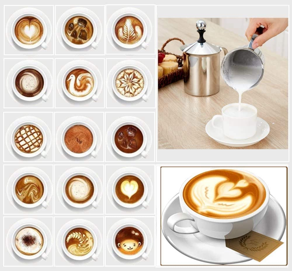 GAODA Stainless Steel Double Mesh Milk Frother Manual Coffee Frother Milk Frother Coffee Latte Art Pen for Making Coffee Cappuccino Foam Milk 500cc