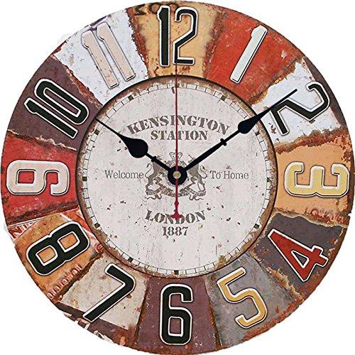 Antiguo reloj 30cm pared madera grande Shabby Chic Rustic Decor casa cocina