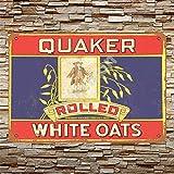No/Brand 1911 Quaker Rolled White Oats Targa in Metallo Manifesto Segnale di Avvertimento retrò Poster Vintage per Camera da Letto Famiglia Porta in Alluminio Art Décor
