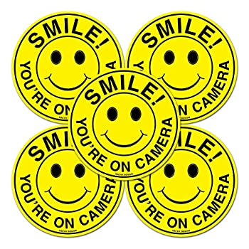 Set of 5  Smile You re On Camera Sign - 4.5  Circle - 4 Mil Vinyl - Laminated for Ultimate Protection & Durability - Self Adhesive Decal - UV Protected & Weatherproof - Heavy Duty