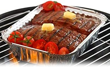 DOITOOL 10pcs Roasting Foil Pan BBQ Drip Pan Grill Grease Tray Broiling Pans Holds Meat Dishes for Barbecue Grilling Fish Ste
