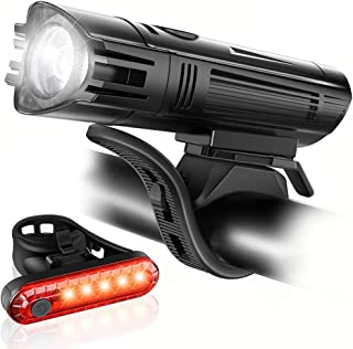 Luz Bicicleta Recargable USB, Linterna Bicicleta Impermeable con Luz Brillante Bicicleta Delantera con 4 Modos y Luz Trase...