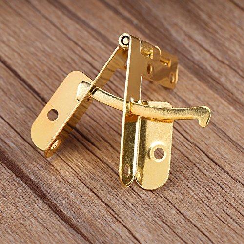 20 piezas 90 ° caja pequeña bisagras de ángulo de apoyo bisagra de resorte para joyería pequeña caja de vino caja de reloj tapa de madera(Oro)