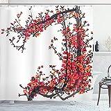 ABAKUHAUS Japonés Cortina de Baño, Flor de Cerezo Japonés Sakura Rama con Pinceladas Imagen Artística Estampa, Estampa Moderna sobre Tela Resistente al Agua Fácil Limpieza, 175 x 200 cm, Marrón