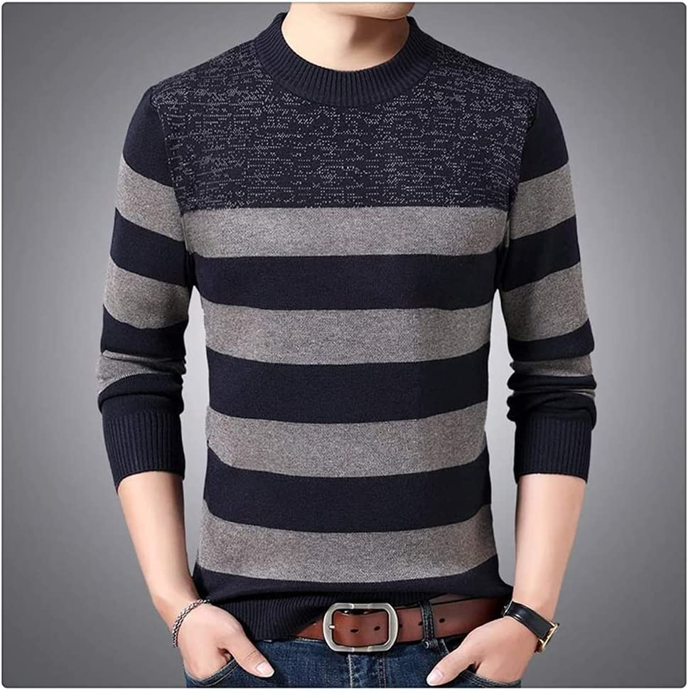 ZTTZX Casual Thick Warm Winter Striped Knitted Pull Sweater Men Wear Jersey Dress Pullover Knit Mens Sweaters Male (Color : Camel, Size : L Code)
