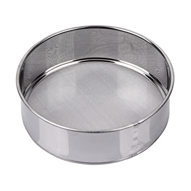 AMPSEVEN Small Tamis Fine Mesh Flour Sieve 60 Stainless Steel Round Sifter for Baking(6 Inch, 60m Mesh)