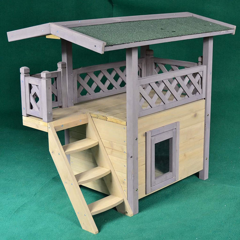 AAGWCWWWL Outdoor Cat Wooden House Lodge, Ideal Cat Condo, Weatherproof Cat Shelter, Grey Pet Wooden Maisonette Shelter,Internal dimensions 34  45  39cm