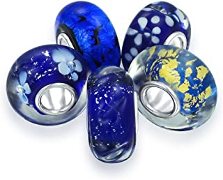Blue Flower Foil Murano Glass Mix Set of 5 Sterling Silver Spacer Bead Fits European Charm Bracelet for Women for Teen