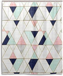 Mod Triangles - ネイビーブラッシュミント シャワーカーテン 150 × 180cm 防カビ 防水 ユニットバス 浴室カーテン 180cm丈 軽量 速乾 バスルーム 高級 バス用品 カーテンリング付き おしゃれ