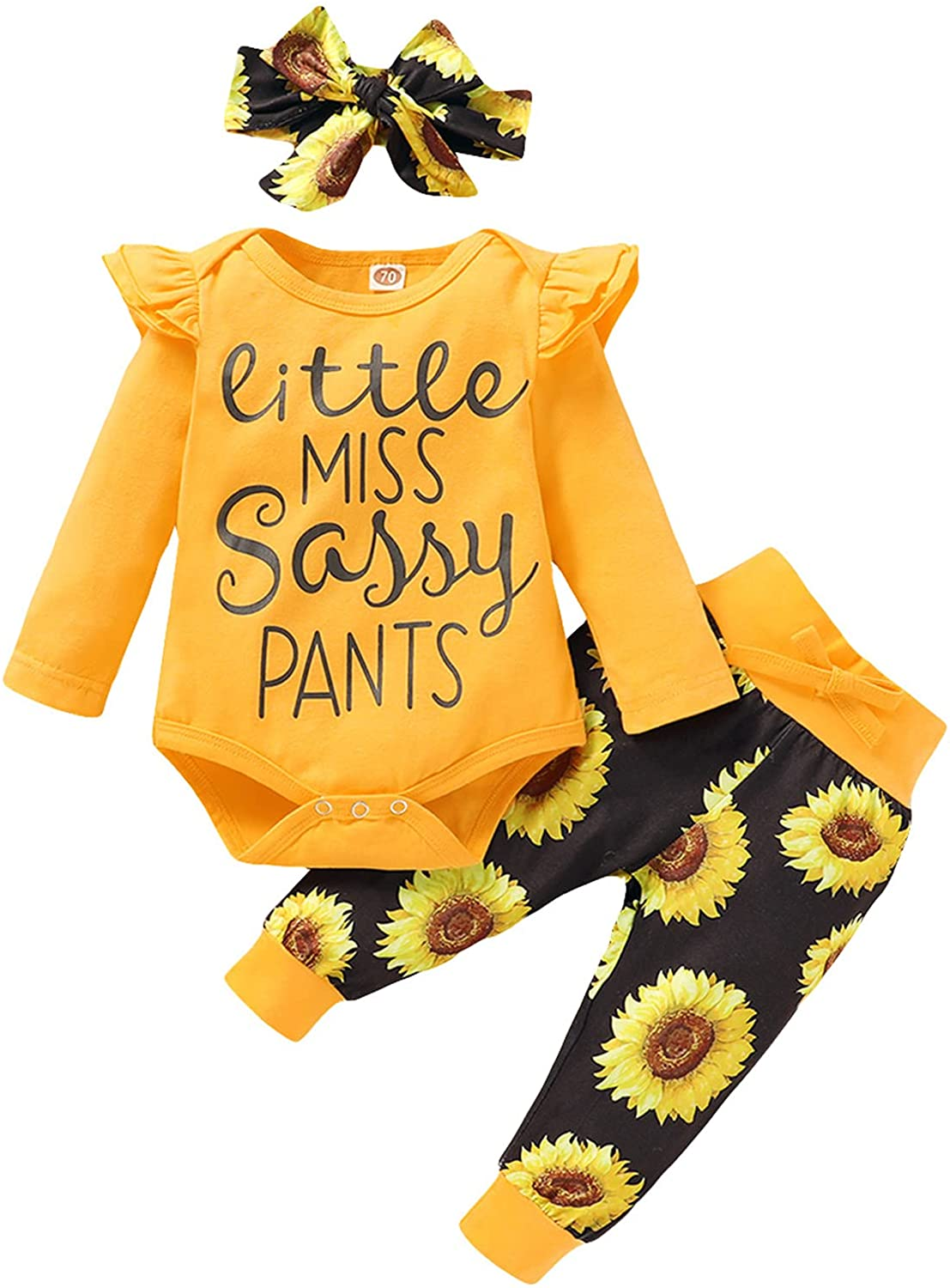 Newborn Baby Girl Clothes Infant Baby Ruffle Romper +Pants + Headband Toddler Girl Outfits Set
