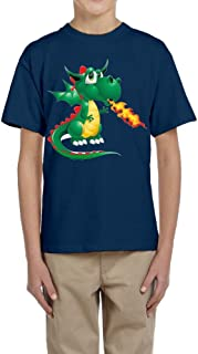 PTCY Design Adolescent T-Shirt Fire Dragon Pterosaur Image White