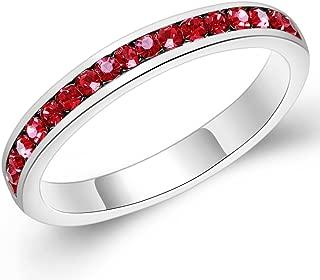 Sinlifu Silver Swarovski Elements Crystals Birthstoness Ring Eternity Wedding Band Ring 3mm