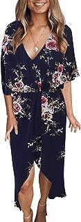 Summer Dresses for Women Random Floral Print Casual Loose Split Plain Maxi Dresses
