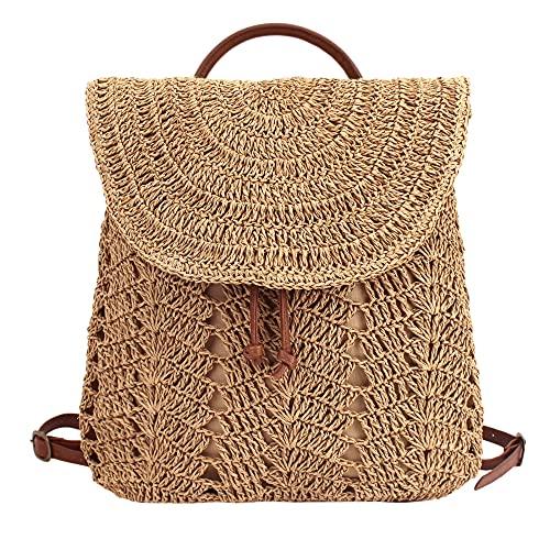 Meyaus Women Straw Handmade Crochet Backpack Flap Drawstring Daypack Beach Shoulders Bag