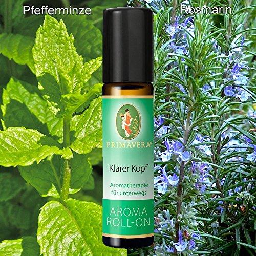 Primavera Bio Aroma Roll-On Deoroller Bioduft 100% naturreine ätherische Öle, Duft:Klarer Kopf