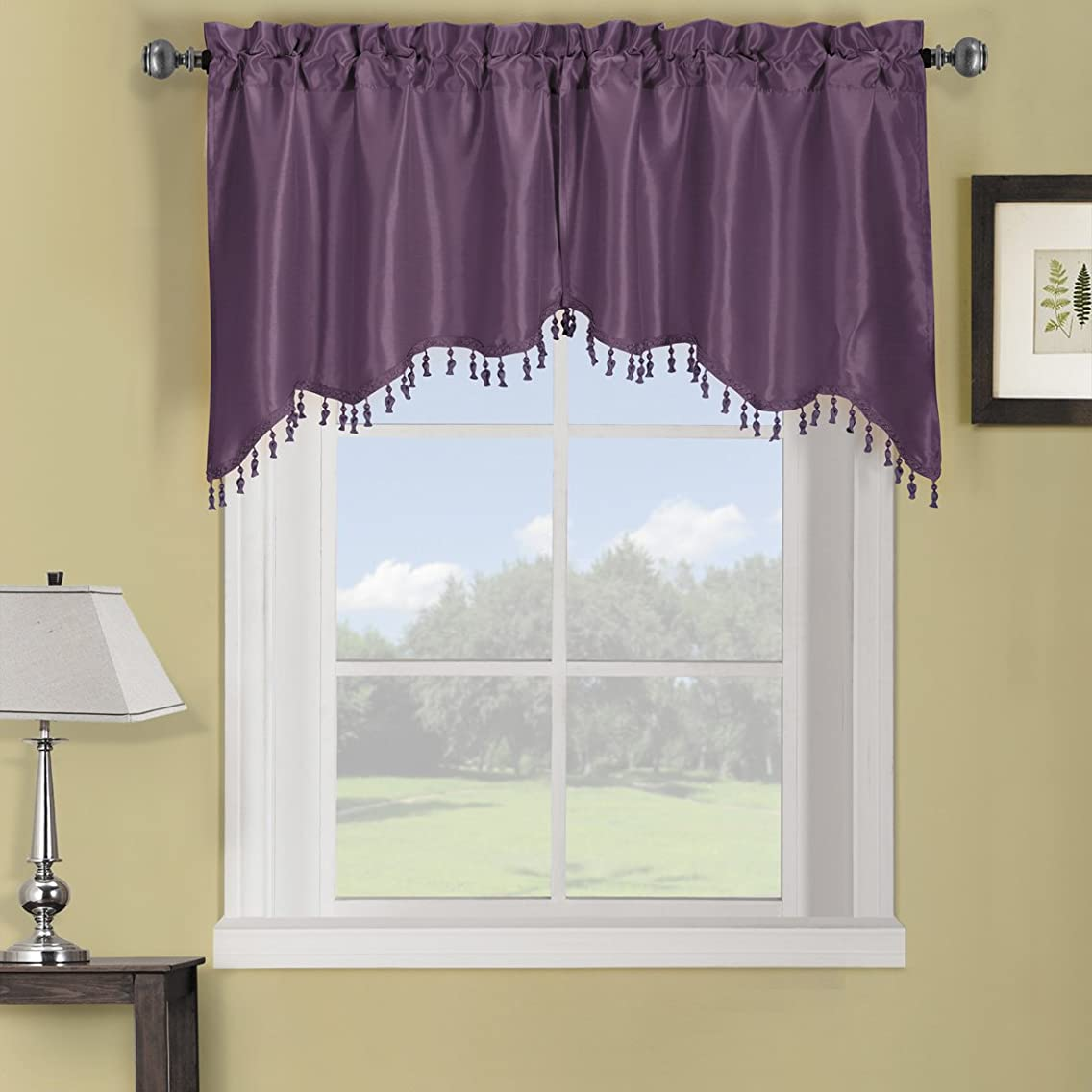 Sheetsnthings 100% Polyester Purple Soho Swag Decorative Trim Window Valance 70